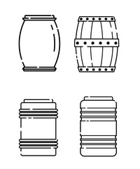 Set of barrels in a linear style. Line icon. Isolated on white background. Vector illustration.