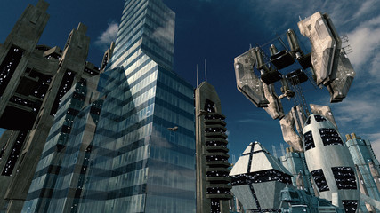 Scifi city with impressive space station. 3D rendering