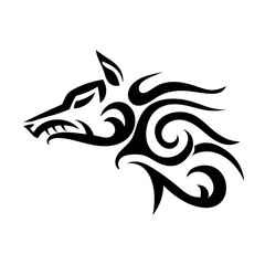 Vector tattoo of a wicked strong wolf on a white background. Angry beast. Stock illustration