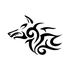 Vector tattoo of a wicked strong wolf on a white background. Sharp fangs. Stock illustration