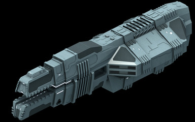 Isometric futuristic sci-fi architecture, container cargo ship. 3D rendering