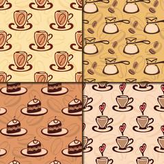 Коллекция бесшовных узоров. Кофейная тема. EPS10