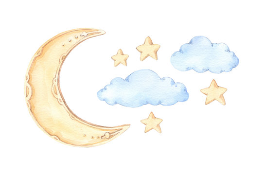 Hand Drawn watercolor illustration - Good night (sleeping moon, stars, clouds). Baby print. Perfect for prints, postcards, posters, greeting cards etc