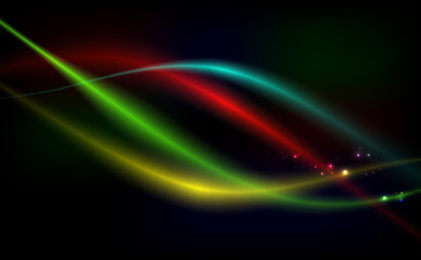 Bright background abstraction with coloured lines on dark background.