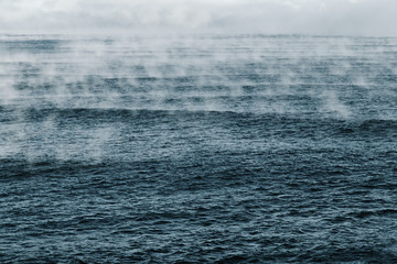 Evaporation of Barents Sea, Arctic Ocean.