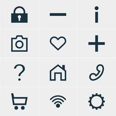 Vector Illustration Of 12 Member Icons. Editable Pack Of Padlock, Plus, Wheelbarrow And Other Elements.