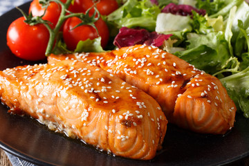 Glazed salmon fillet with sesame close-up. horizontal