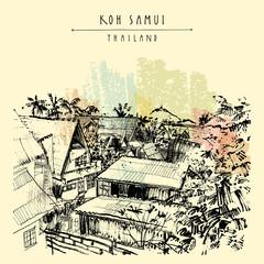 Koh Samui island, Thailand, Southeast Asia. Rural tropical landscape sketch. Vintage touristic postcard