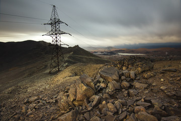 Power line in the mountains near the town of Karabash, Russia. Wall mural