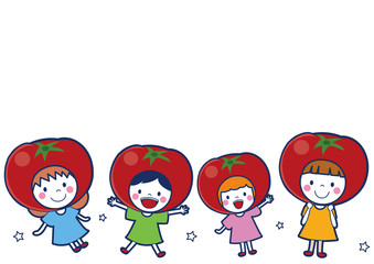 トマトの女の子イラスト