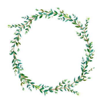 Floral wreath.Garland of a eucalyptus branches.Frame of a herbs.Watercolor hand drawn illustration.It can be used for greeting cards, posters, wedding cards.