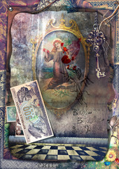 Garden Poster Imagination Magic Mirror in the mysterious room