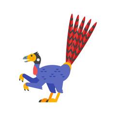 Vector flat style illustration of prehistoric animal - Epidexipteryx.