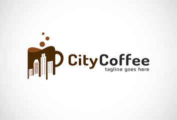 City Coffee Logo Template Design Vector, Emblem, Design Concept, Creative Symbol, Icon