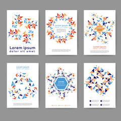Set of color abstract flyer template with geometric elements