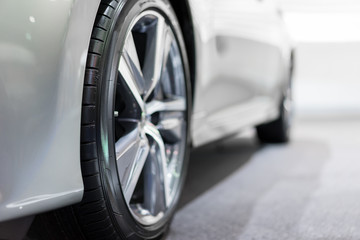 Close up wheel of the modern and elegant car