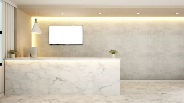 marble counter reception for hotel - 3d Rendering