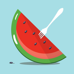 Melon Slice with White Fork on Blue Background. Vector Summer Food Symbol.