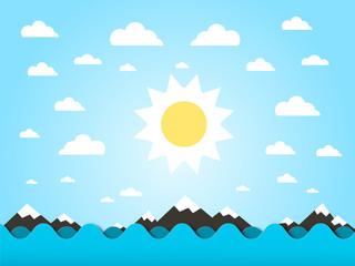 Sea Waves with Sun Vector Flat Design Cartoon