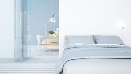 bedroom and dining area white tone in condominium or apartment - 3D Rendering