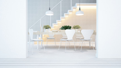 dining area and balcony in apartment or condominium - 3D Rendering