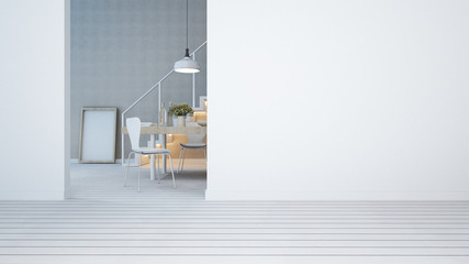 dining area white tone in condominium or apartment - 3D Rendering