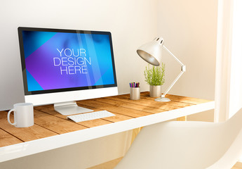 Desktop Computer on Bright Wooden Desk