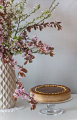 caramel cheesecake with easter decoration