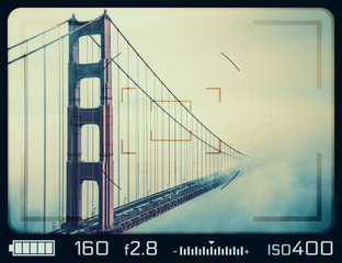 Golden Gate Bridge seen through camera viewfinder