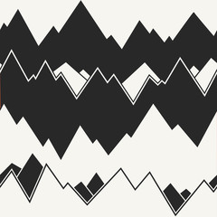 Modern stylish monochrome mountain range background with irregular structure of horizontal waves. Repeating  texture perfect for wallpapers, prints and decoration. Vector seamless pattern.