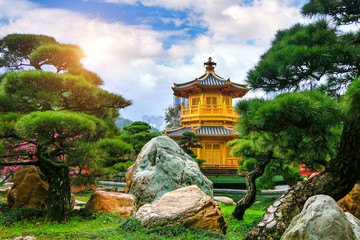 The Golden Pavilion of absolute perfection in Nan Lian Garden in Chi Lin Nunnery, Hong Kong.