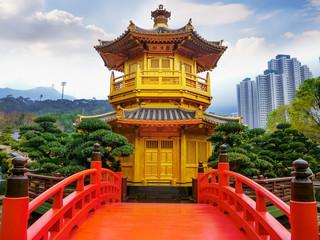 The Golden Pavilion of absolute perfection in Nan Lian Garden in Chi Lin Nunnery, Hong Kong.