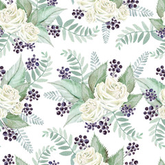 Photo sur Aluminium Fleurs Vintage Bright watercolor seamless pattern with flowers roses, blackberries and leaves. Illustration