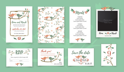 Template wedding card with cute birds on a tree branch. Greeting card.