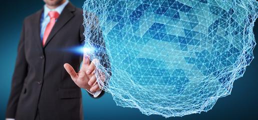Businessman touching flying network sphere 3D rendering