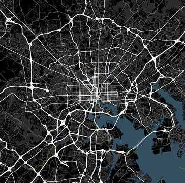 Black and white map of Baltimore city. Maryland Roads