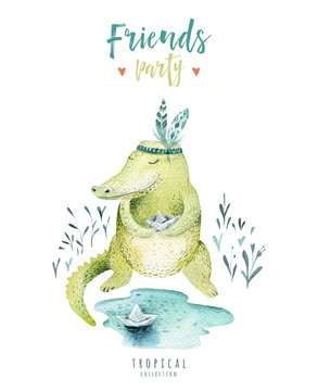 Baby animals nursery isolated illustration for children. Watercolor boho tropical drawing, child cute crocodile, tropic alligator.