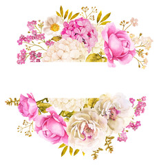 Floral decoration background with roses and hydrangea