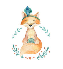 Cute baby fox animal for kindergarten, nursery isolated  illustration for children clothing, pattern. WatercolorHand drawn boho image Perfect for phone cases design, nursery posters, postcards.