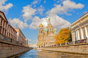 Cathedral of Our Saviour on Spilled Blood and Griboedov channel in St Petersburg,Russia