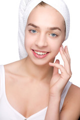 Beautiful girl with towel on her head