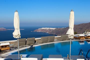 Pool overlooking Santorini Caldera and Oia