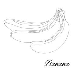 Banana. Page for coloring book. Doodle design.Fruits. Vector illustration.
