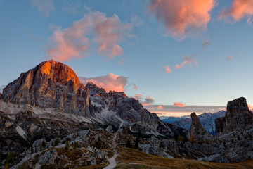 Mountain Cinque Torri (The Five Pillars) on sunrise, Dolomites, Italy