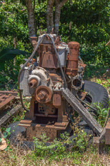 Old machinery rusted up.after the mine.After the mining industry was completed, the mining equipment was left rusty.