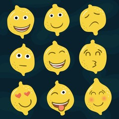 Set of yellow lemons icons, emotions, smileys
