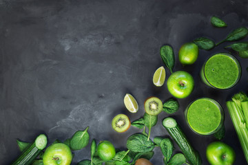 Wall Mural - Green smoothie with ingredients