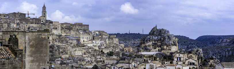 Typical houses of stone (Sassi di Matera) of Matera, UNESCO European Capital of Culture 2019, Basilicata, Italy