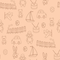 Seamless pattern with children's toys. A vector picture for design