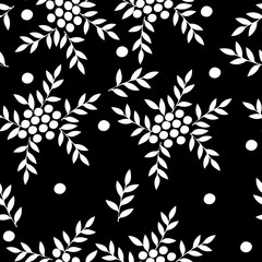 Seamless pattern with white berry and leaf on the black background